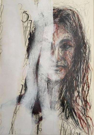 Retrato IV. Óleo y Grafito y Sanguina.