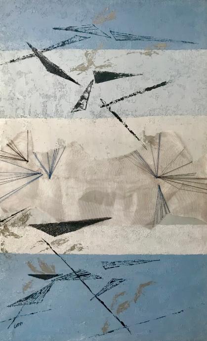 Natura XXI. Técnica mixta y óleo sobre lienzo, 116 x 73 cm.