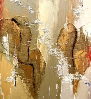 Natura XIX. 2018. Técnica mixta y óleo sobre lienzo, 100 x 100 cm